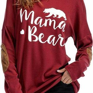 Long Sleeve Mama Bear Shirt with Patch Sleeve
